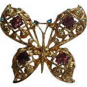Vintage Butterfly Pin Brooch with Colored Stones & Faux Pearls