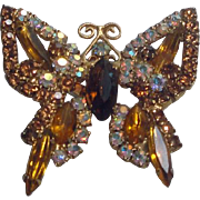 Goldtone Butterfly Pin Brooch with Faceted Stones