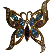 Goldtone Butterfly Brooch with Blue & Purple Stones