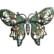 Vintage Butterfly Brooch with Enameled Wings & Faceted Stones