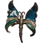Vintage Silvertone Butterfly Trembler Pin Brooch