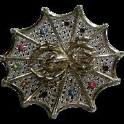 Vintage Spider & Web Halloween Tie Tack Pin