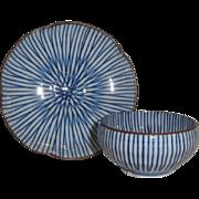 Lovely Asian Enameled Porcelain Finger Bowl Cup & Saucer Set, Blue Stripes
