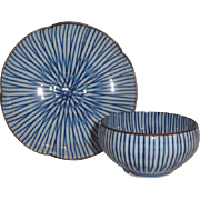 Lovely Asian Enameled Porcelain Finger Bowl Cup & Saucer Set, Blue Stripes