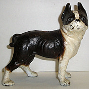 Vintage Cast Iron Boston Terrier Dog Coin Bank