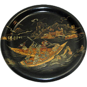 Vintage Asian Lacquered Wood Plate with Men Battling in Boats