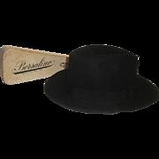 Vintage Italian Borsalino Black Fedora Hat Antica Casa + Original Box