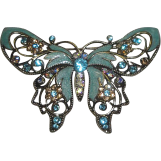 Lovely Butterfly Pin Brooch with Enameling & Colored Stones