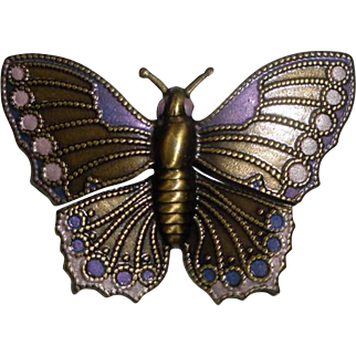 Goldtone Butterfly Pin Brooch with Pink & Blue Details