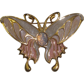 Vintage Butterfly Pin Brooch with Pastel Pink Wings & Center Stone