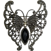 Vintage Silvertone Butterfly Pin Brooch with Black Stone