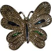 Gerry's Goldtone Butterfly Pin Brooch with Bright Blue & Green Trim