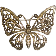 Vintage Goldtone Butterfly Pin Brooch
