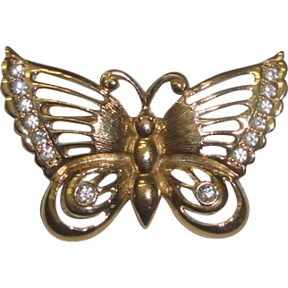 Vintage Goldtone Butterfly Pin Brooch with Clear Faceted Stones