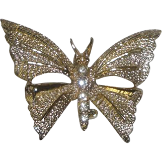Gerry's Goldtone Butterfly Pin Brooch with Clear Stones on Body