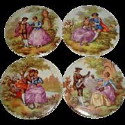 4 Limoges France Victorian Tiles Signed Fragonard