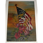 Beautiful Signed Oil Vintage Painting of American Flag & Roses