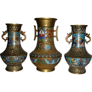 3 Vintage Japanese Brass & Cloisonne Vases