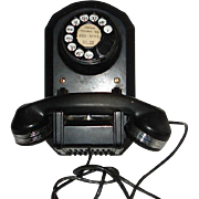 Vintage Black Bakelite Wall Mount Rotary Telephone