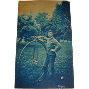 Vintage Photograph of Man with High Wheeler Bicycle