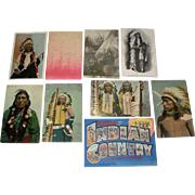 9 Vintage Native American Indian Postcards, Glitter Embossed Real Photo +
