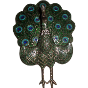Sterling Silver & Enameled Peacock Pin Brooch