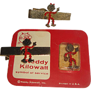3 Vintage Reddy Kilowatt Advertising Items Pin +