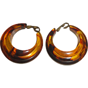 Vintage Tortoise Shell Plastic Hoop Earrings