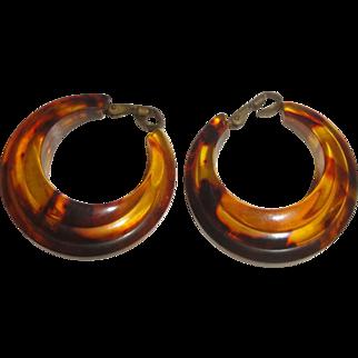 Vintage Tortoise Shell Plastic Hoop Earrings