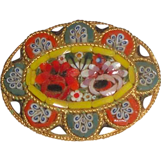 Beauitful Oval Micromosaic Pin Brooch Made in Italy