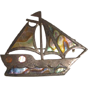 Sterling Silver Mexico & Mother-of-Pearl Sailboat Pin