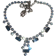 Vintage Blue Rhinestone Necklace & Earrings Set