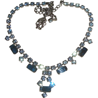 Vintage Blue Rhinestone Necklace & Earrings Set