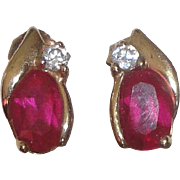 10k Gold Earrings with Red & Cubic Zirconia Stones  1.1 Grams
