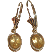 14k Gold Dangle Earrings with Faceted Yellow Stones  1.6 Grams