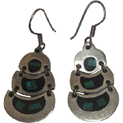 Taxco Mexico Sterling Silver & Turquoise Earrings