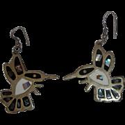 Sterling Silver & Mother of Pearl Hummingbird Earrings