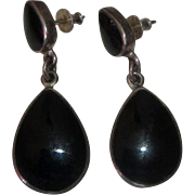 Taxco Mexico Sterling Silver Earrings with Black Teardrops