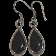 Sterling Silver Black Teardrop Earrings