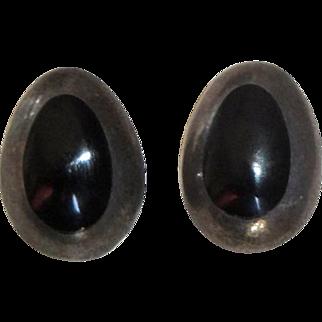 Sterling Silver & Black Teardrop Pierced Earrings - Mexico