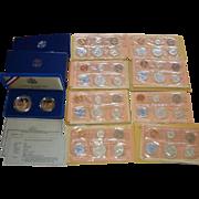 9 SETS Vintage U.S. Coins 1961-64 Mint Sets + 1986 Silver Liberty Set