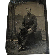Vintage Tintype Photo of Man in Fire or Military Uniform