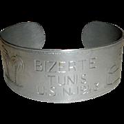 Vintage WWII U.S. Navy Cuff Bracelet - Bizerte Tunis