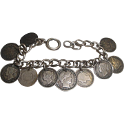 OLD COIN Charm Bracelet with 10 Real U.S. Canada & Other Coins 1838 +