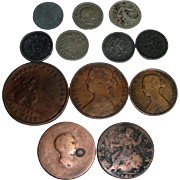12 Vintage Coins 1852-1941 Germany France Canada +