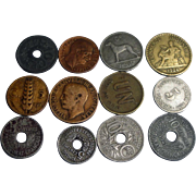 12 Vintage Coins 1900-1975 Germany Italy Asian +