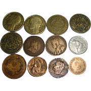 12 Vintage Coins 1876-1941 Germany France Italy +