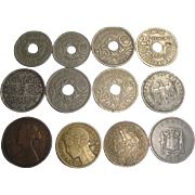 12 Vintage Coins 1861-1972 British Half Penny German French +