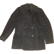 Vintage U.S. Military Wool Peacoat with Anchor Buttons Size 38R