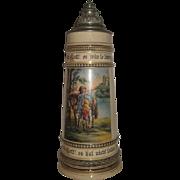 Vintage 2-Liter German Lidded Beer Stein